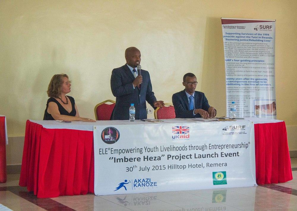 Minister Nsengimana speaking about the importance of entrepreneurship in Rwanda.