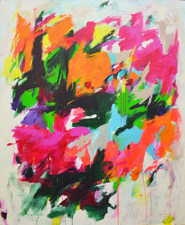 Pink Mitchell, acrylic & mixed media