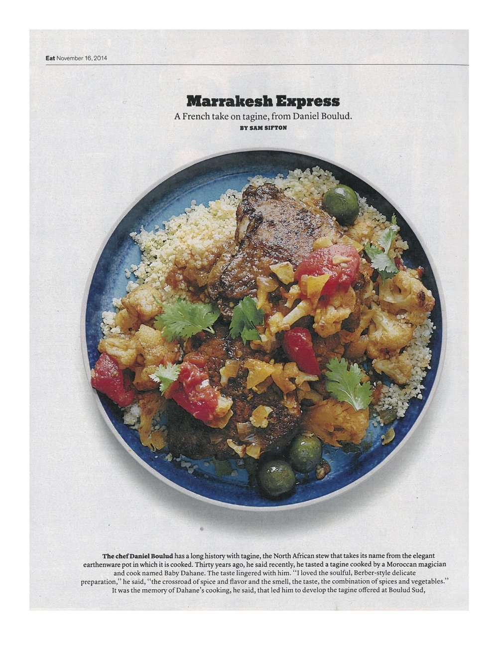 Boulud Sud - New York Times Magazine, Tagine Nov 16 2014.jpg