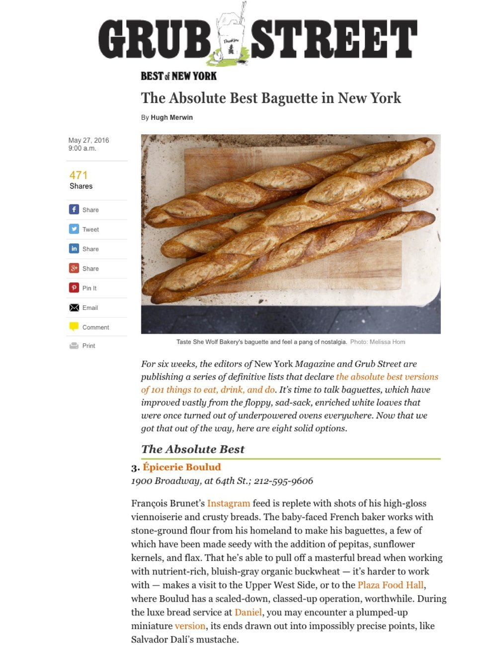 Epicerie Boulud - NY Mag, Best Baguette in NYC May 2016.jpg
