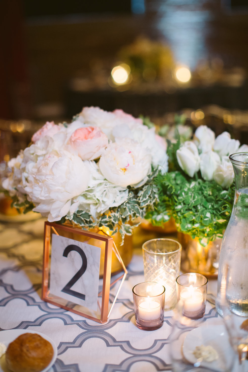 Wedding Table Number Rose Gold