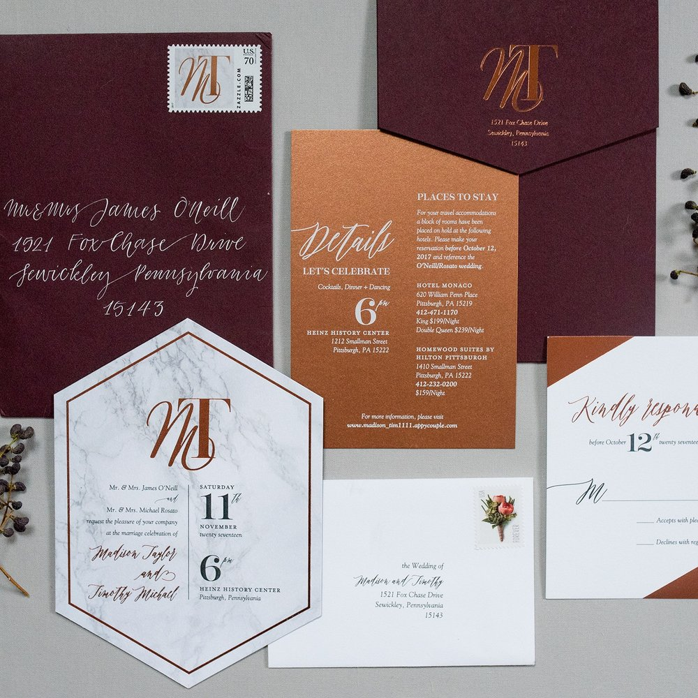 Madison + Tim : mixing up marble, copper + burgundy  Photo by Eva Lin photography