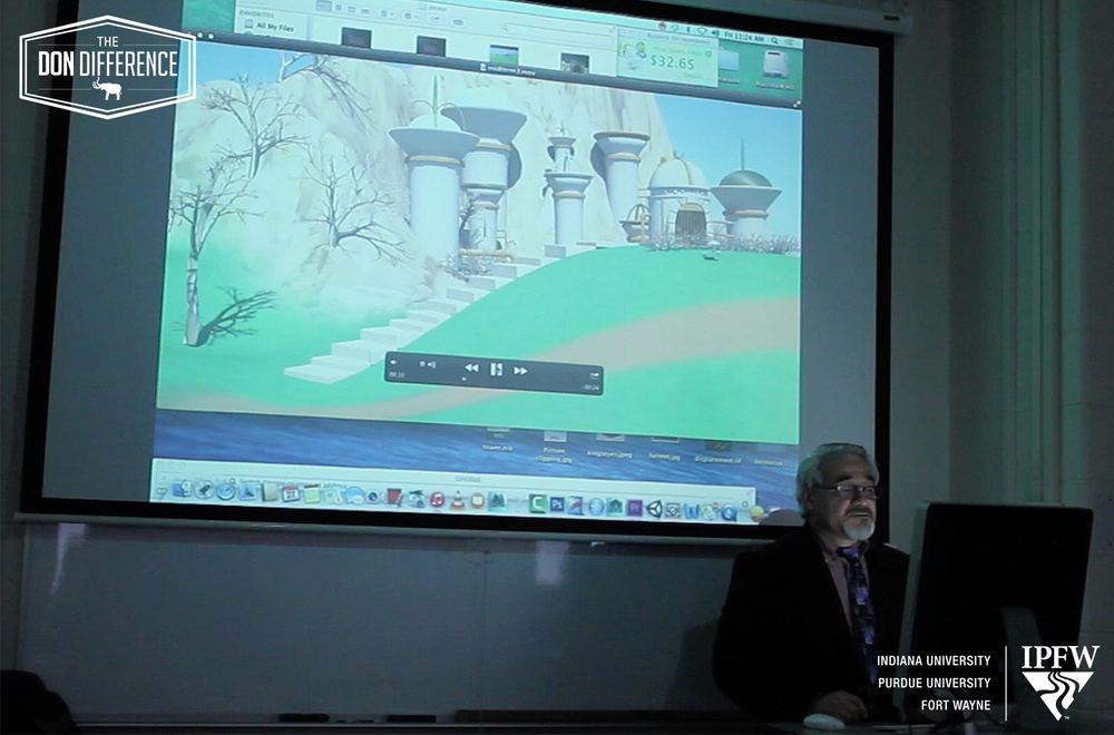 Professor Montenegro demonstrates how computer modeling and animation can recreate environments.