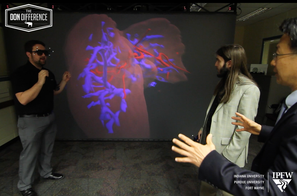 Professor Kim and his students demonstrate the capabilities of medical imaging.