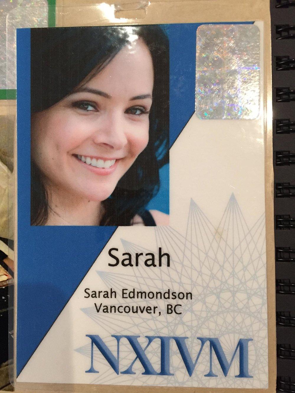 Sarah Edmondson's Name Badge.