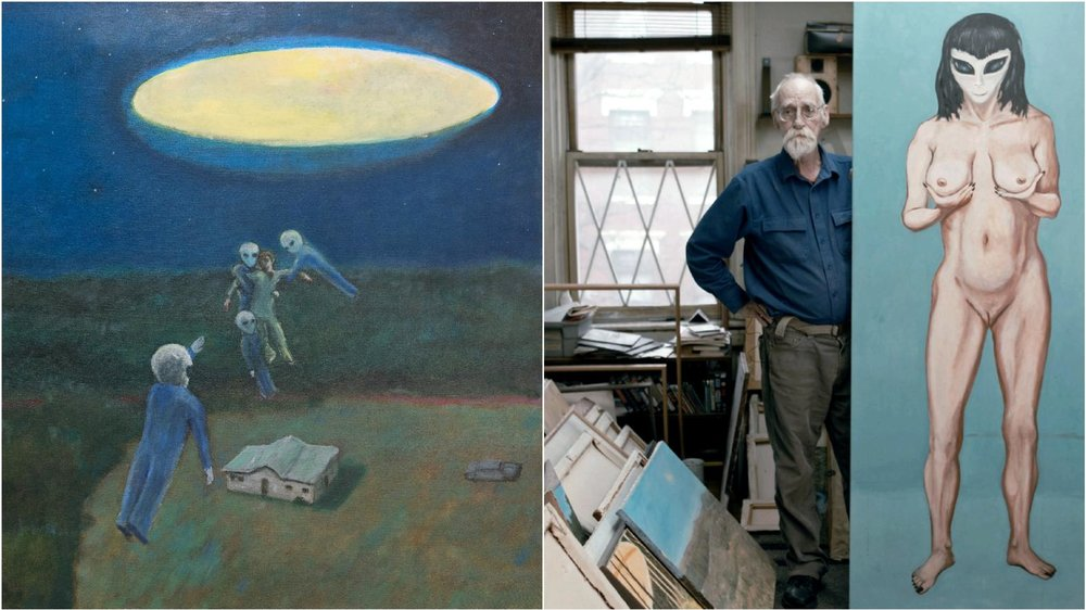 Floating Up , David Huggins (left); Huggins in his studio with a painting of an alien woman he says he had sex with (right)