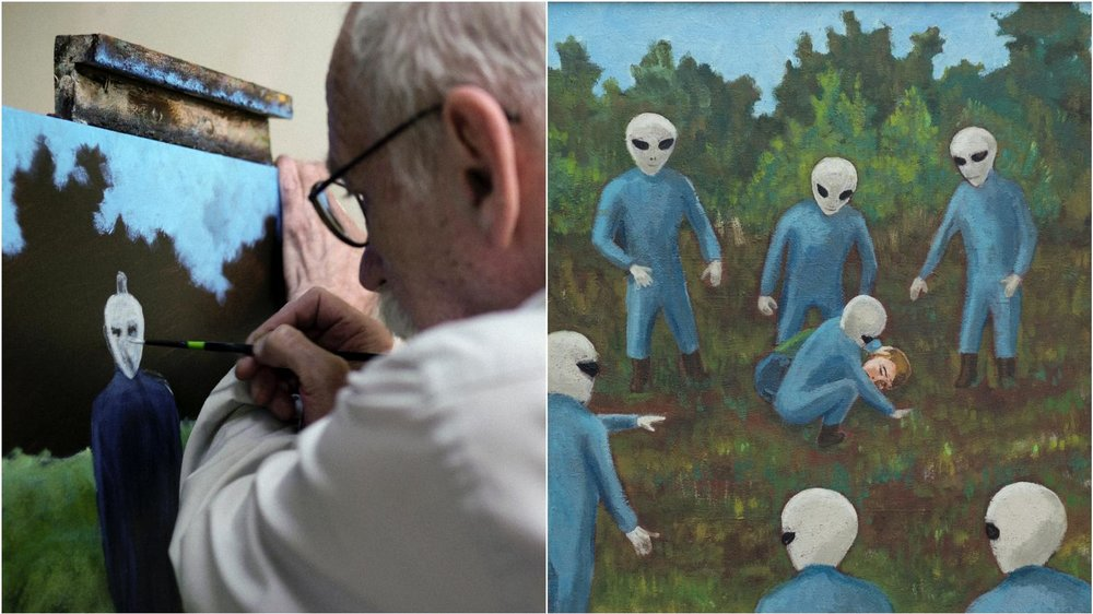 David Huggins works on a painting (left);  Caught , David Huggins, oil on canvas, 1989 (right)
