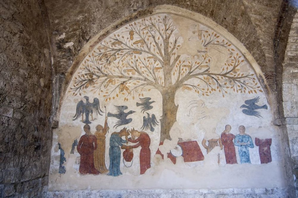 A phallus tree mural uncovered in Tuscany. Photo via Wikipedia.