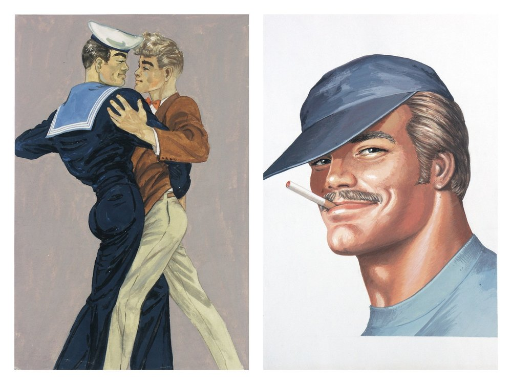 Left: Tom of Finland, Tom's Finnish Tango, 1947. Right: Tom of Finland,  Untitled (Portrait of Pekka) , 1975. Courtesy Tom of Finland Foundation and David Kordansky Gallery, Los Angeles, California.