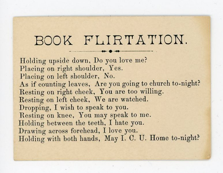 "The original ""Book Flirtation"" card found by Sheryl Jaeger. She has since had the text printed on cards for book fairs. COURTESY SHERYL JAEGER"
