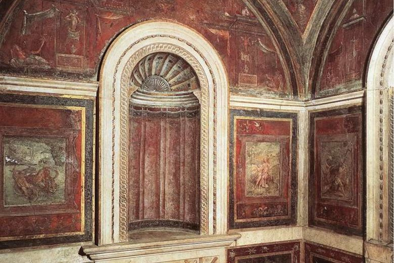 A tiny bathing chamber in the Vatican's Papal Apartments was painted in 1516 by Raphael for one Cardinal Bibbiena, a good friend of the pope and apparently, a fan of the erotic decorative arts.