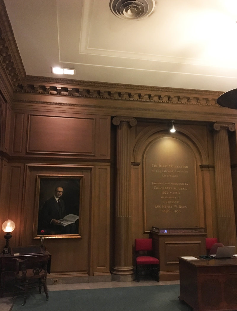 The Berg Collection is housed in a grandiose room on the third floor of the NYPL's Fifth Avenue building. To the left is Charles Dickens' mahogany writing desk.