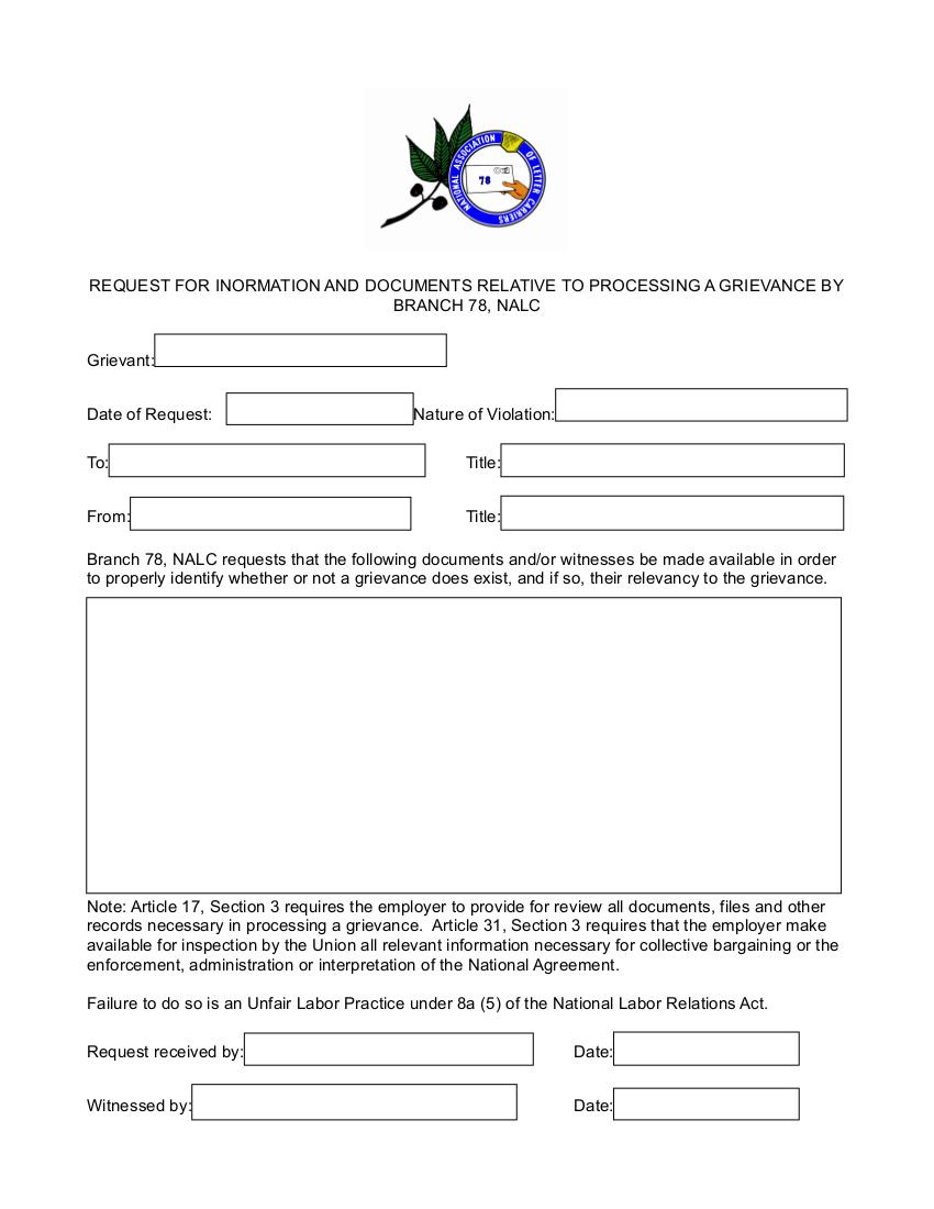 Stewards nalc buckeye branch 78 columbus ohio request for information rfifillable platinumwayz