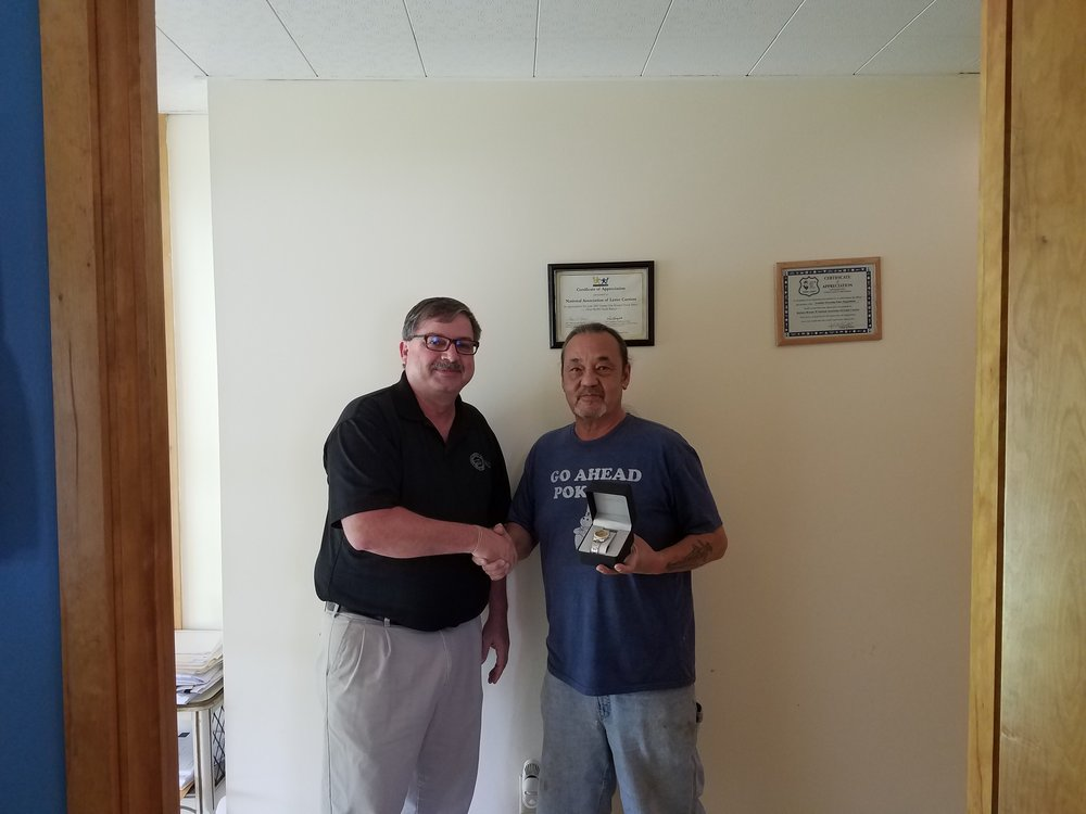 President Hornyak with new retiree Jesse Richards from Westland