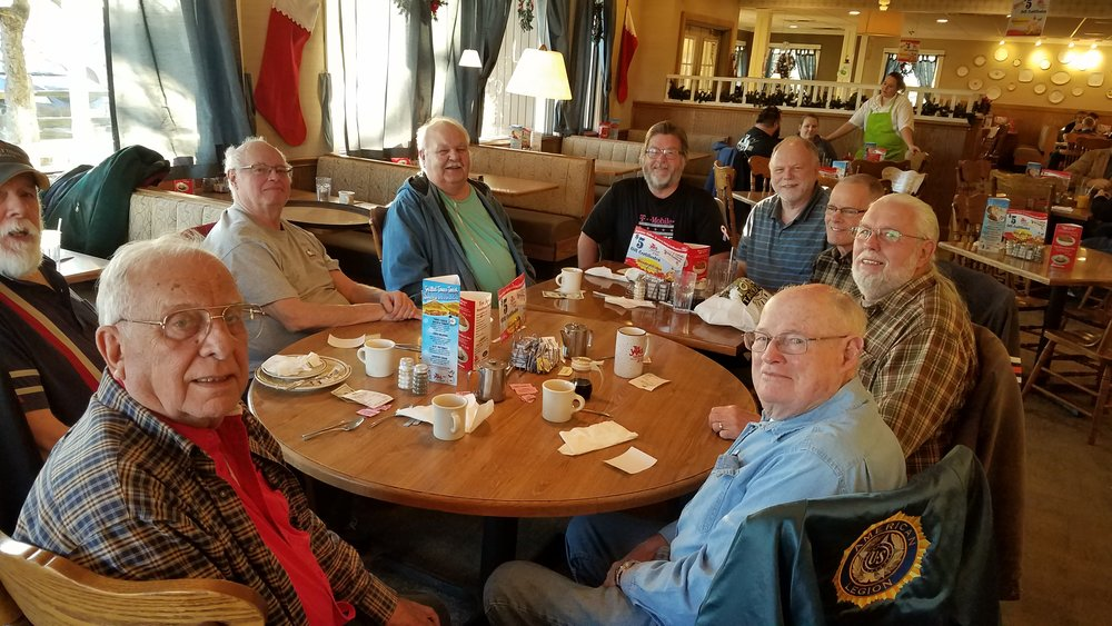 Retired members from Westland Station meet the 4th Monday of the month at Tee Jays Restaurant on West Broad St. to share stories and coffee. Bottom left Evan Behrendt, Bill Russell, Karl Beem, Ken MacNealy, Don Murnane, Don Funk, Dan Murnane, Rick Lorring, and Eugene Smith