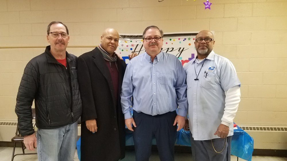 Two letter carriers from Branch 78 Upper Arlington Station in Columbus Ohio retired on same day with over 40 years of service each. Pictured L to R Region 11 Regional Administrative Assistant John Collins, Virgil McElroy, Branch 78 President Todd Hornyak, and Vernon McElroy