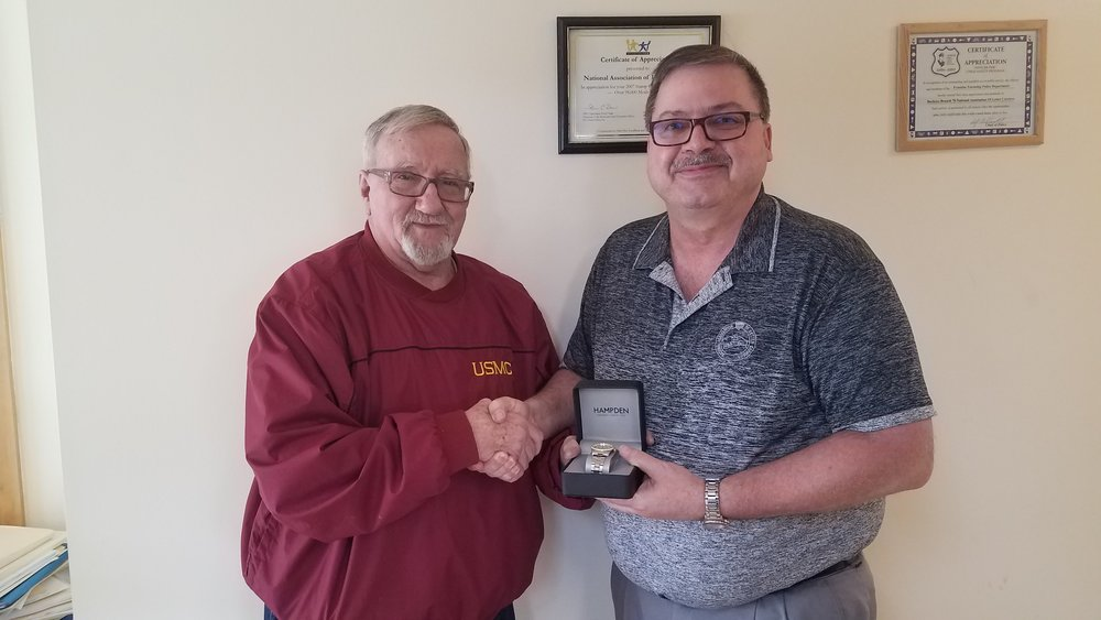 Herbie Sharfenaker receives his retirement watch at Union Hall