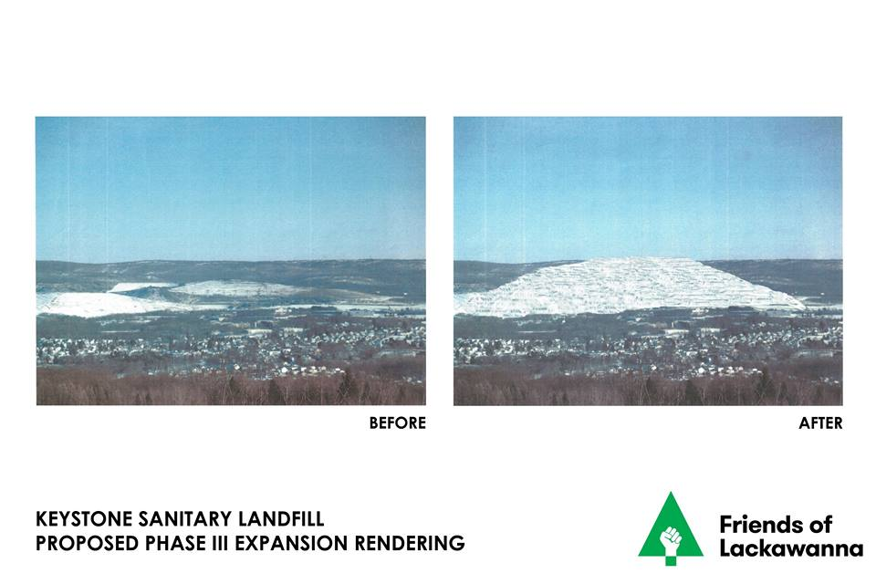 Friends, one of our members created the attached conceptual Before and After rendering. It is the result of looking at the proposed Keystone   Sanitary Landfill Phase 3 expansion plans and using that information to   make an informed opinion on what the landfill will look like from across   the valley when it reaches capacity.  Our constitutional right to to   the preservation of the natural, scenic, historic and esthetic values of   the environment will be completely degraded.  This is why we stand in   such strong opposition and continue to defend our community's health, welfare, reputation, property values and our environment.