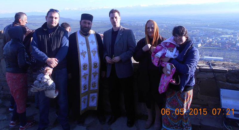 Left to right: Guram (with chicken), Father Luka, me (perhaps overdressed), Tina, Tika (all swathed in pink), and Nino.