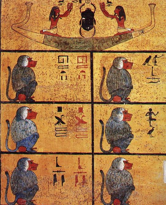 A wall of King's Tut's tomb depicting baboons. Apparently babboons pee like clockwork every hout, and the ancient Egyptians used this as a method of keeping time. Image courtesy of a 1 pound CD I bought.