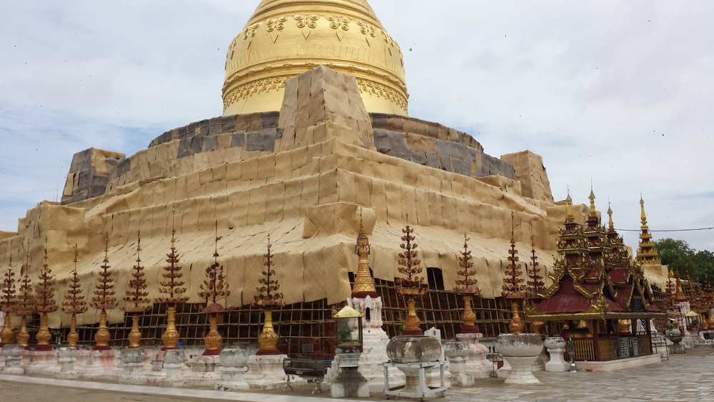 Shwezigon pagoda is under repair.