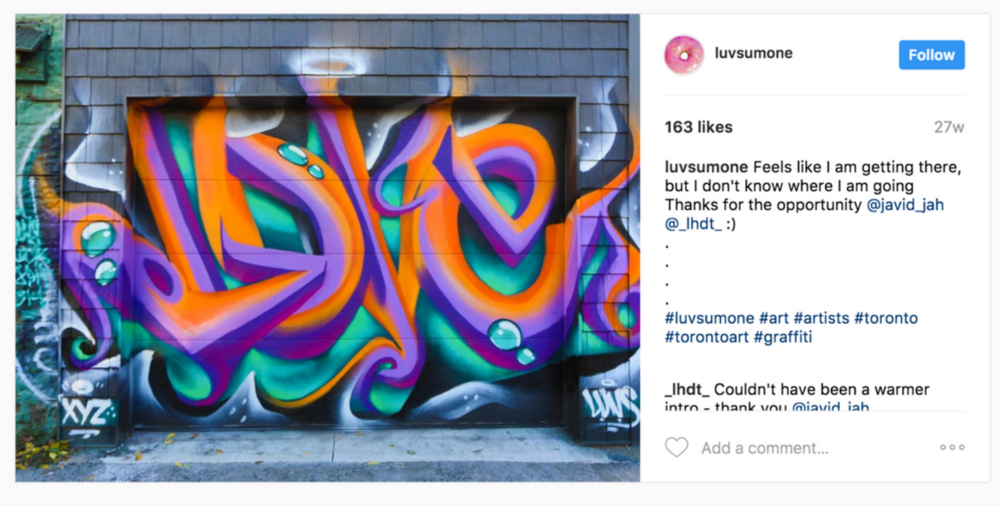 Taking Art Installation Street Level with Famed Graffiti Artist @luvsumone. #LHDT