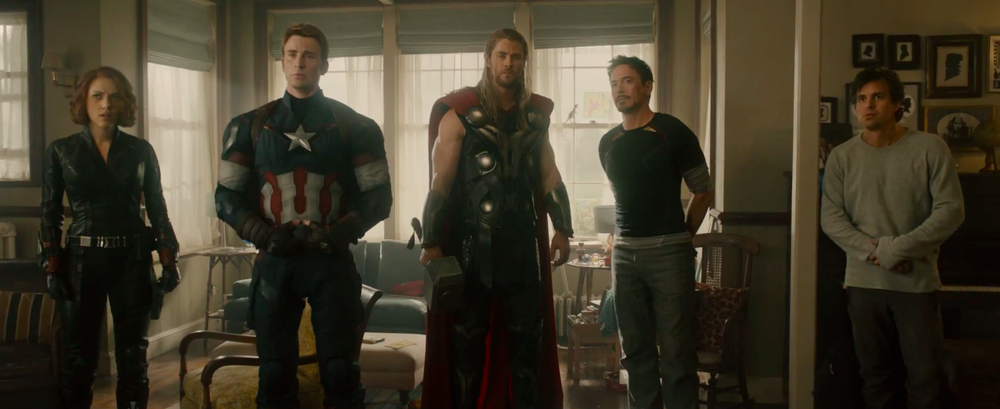 I love the weird parallel between Cap and Bruce in this shot.