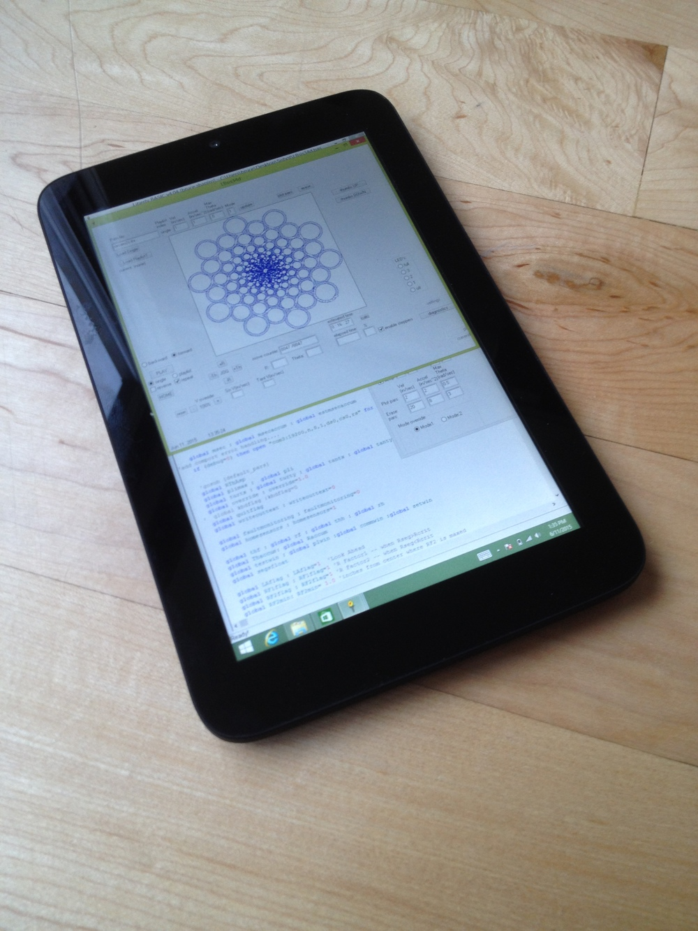 "7"" Winbook tablet running Sisyphus developer app"