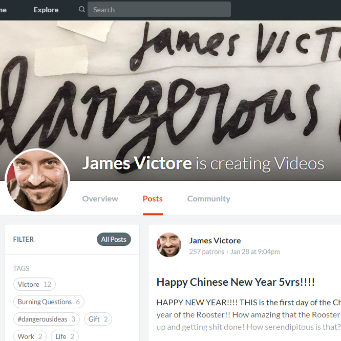 James Victore is such a rebel! He just announced he's doing videos on Patreon and guess who's already supporting him? Moi.