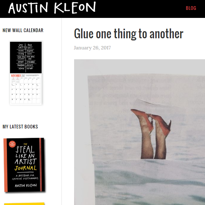 Austin Kleon's twitter feed is gold. He also shares his creative thoughts on his blog and his newsletter. Basically, just follow it all.