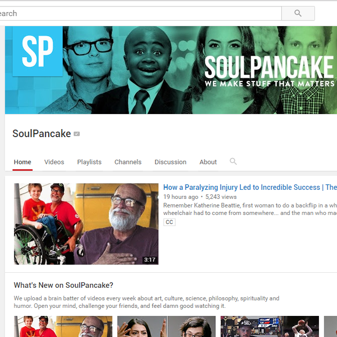 Soulpancake is for you if you want to be inspired to create, to look at the world through rose-tinted glassed, and to just be you!