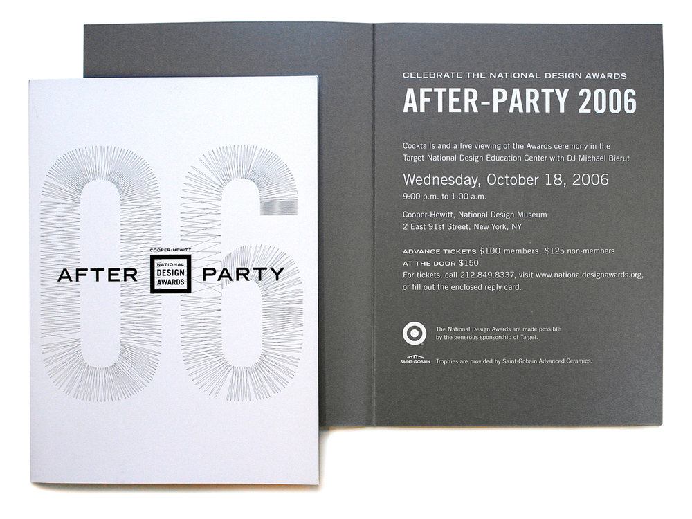 After party invitation with a custom display typography to reflect the informal, energetic mood of the after event celebrations.
