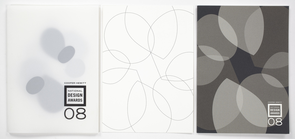 "The 2008 gala invitation suite was designed around a ""floral"" element made of the 8 counter forms from 4 figure 8's. The counter forms were rendered in line, color and volume as well as being animated for the AV presentation at the gala."