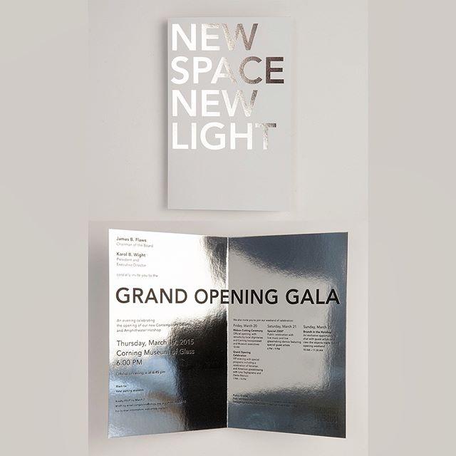 Vault: Corning Museum of Glass, VIP Gala Invite celebrating the opening of a new Contemporary Art + Design Wing. The North Wing Expansion, designed by Thomas Phifer, provides 100,000 square feet of new space, including spacious light-filled galleries for its collection of contemporary works in glass, as well as one of the world's largest facilities for glassblowing demonstrations and live glass design sessions.  #galabranding @corningmuseum
