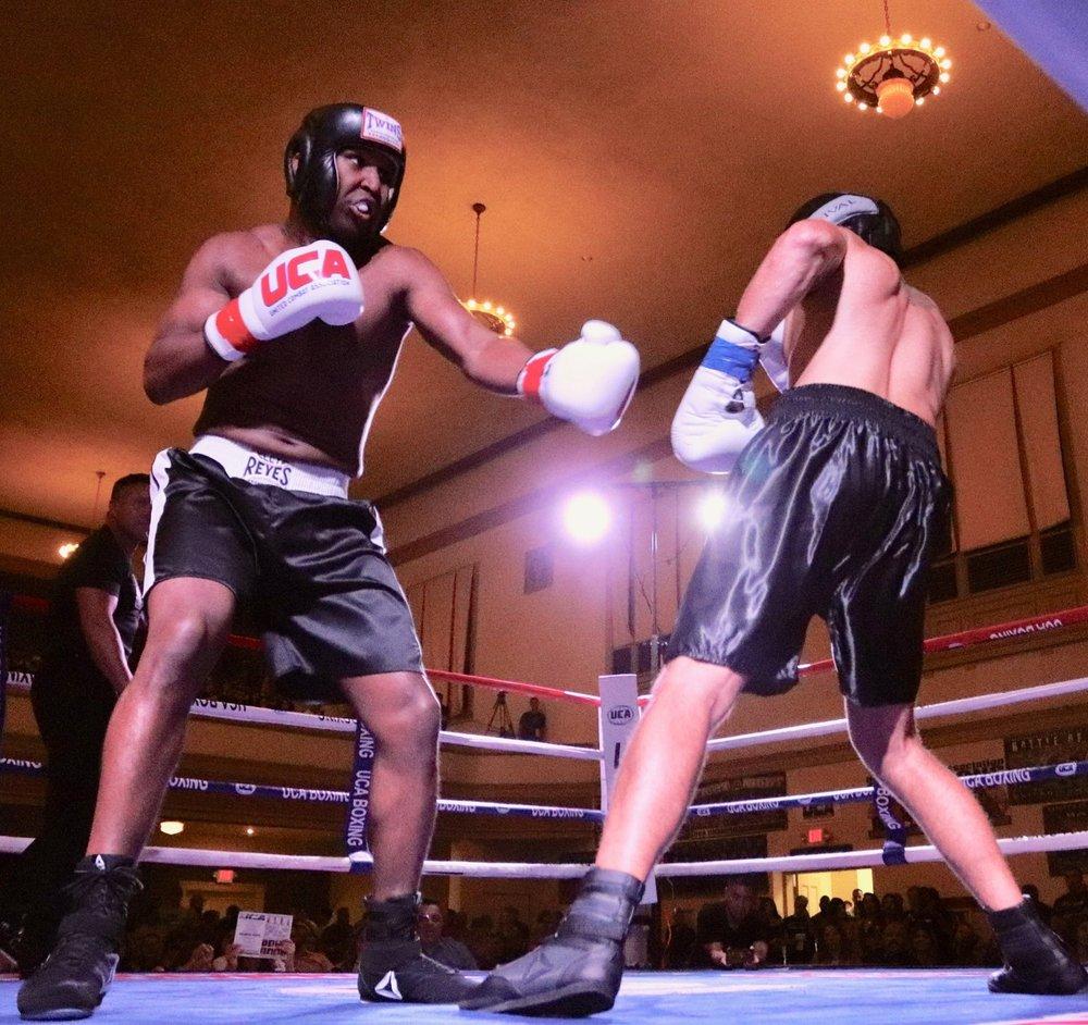 UCA Super Cruiserweight Champion  Marqus Blevins  in action opposite UCA Super Heavyweight Champion Chris Dubianksy