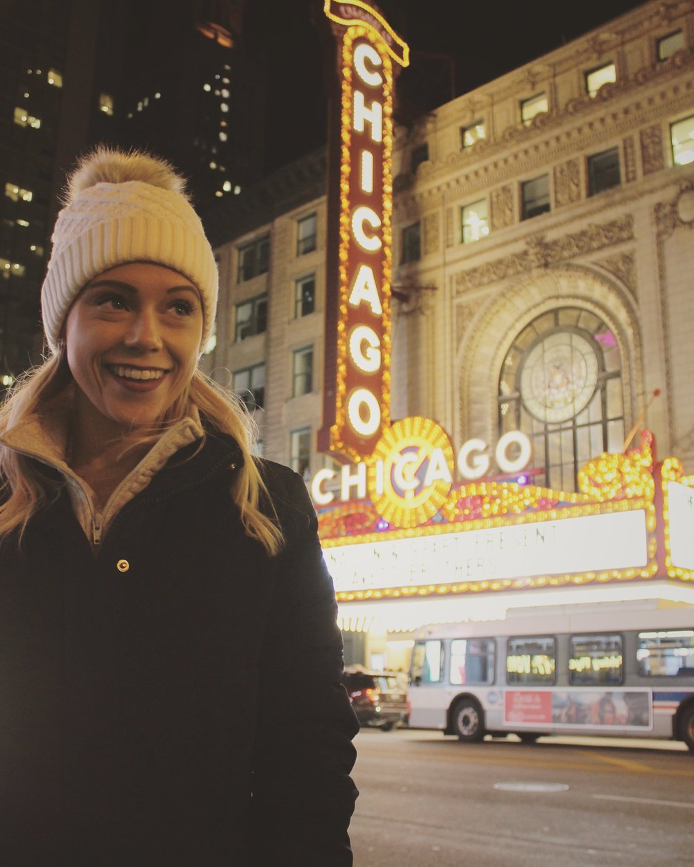 Outside the Chicago Theater | @emilyminormusic on Instagram