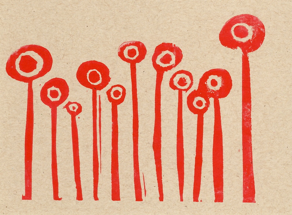 """Girlfriends""  hand-carved rubber stamp + kraft paper + red screen printing ink"