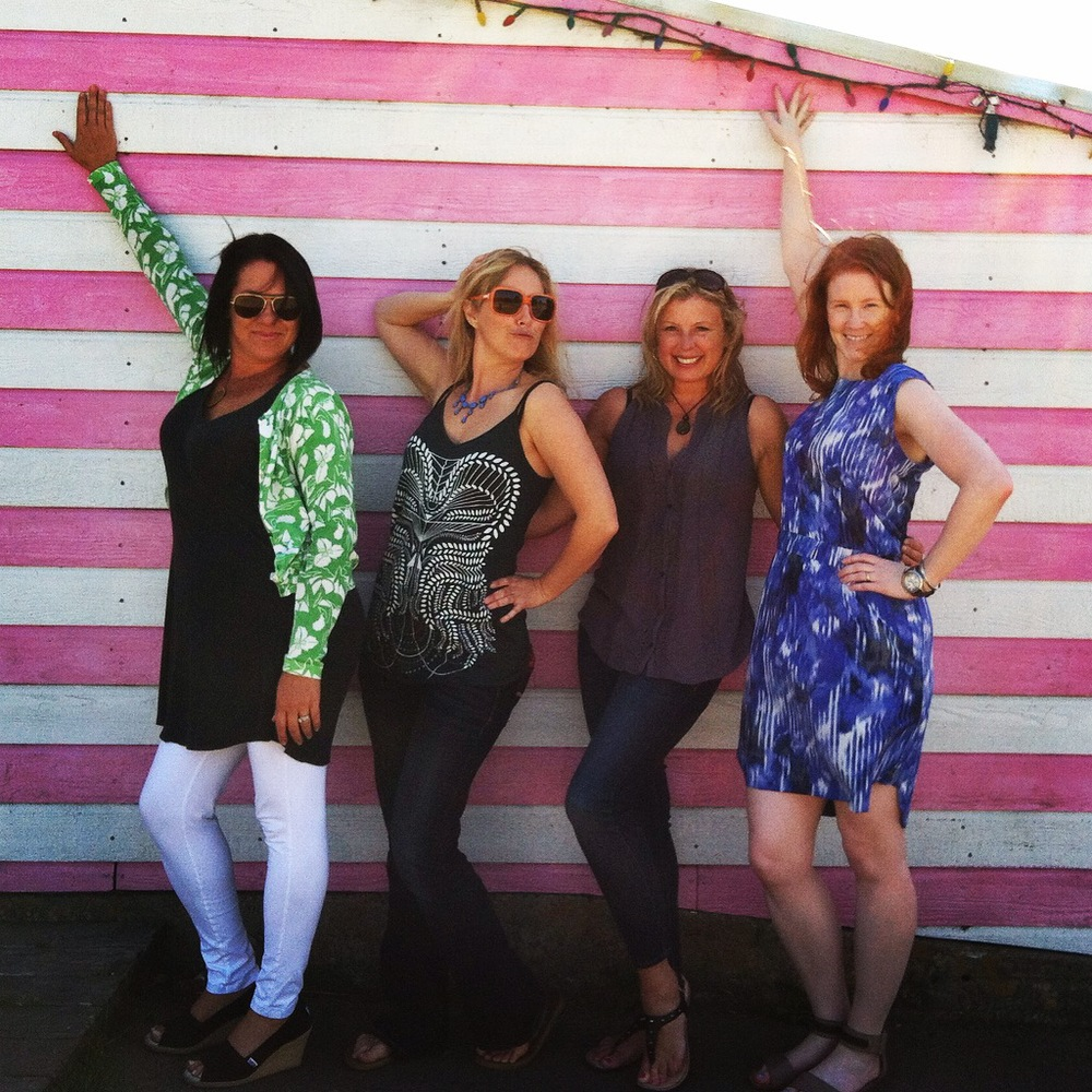 Cypress Cabin Mates :: Tammi, Elke, Michelle & Angi striking a pose in front of the iconic Patrick's Saltwater Taffy building in Bodega Bay.  Rumor has it Vanity Fair & Victoria's Secret Catalog have done photo shoots here.  We had to strike a pose!