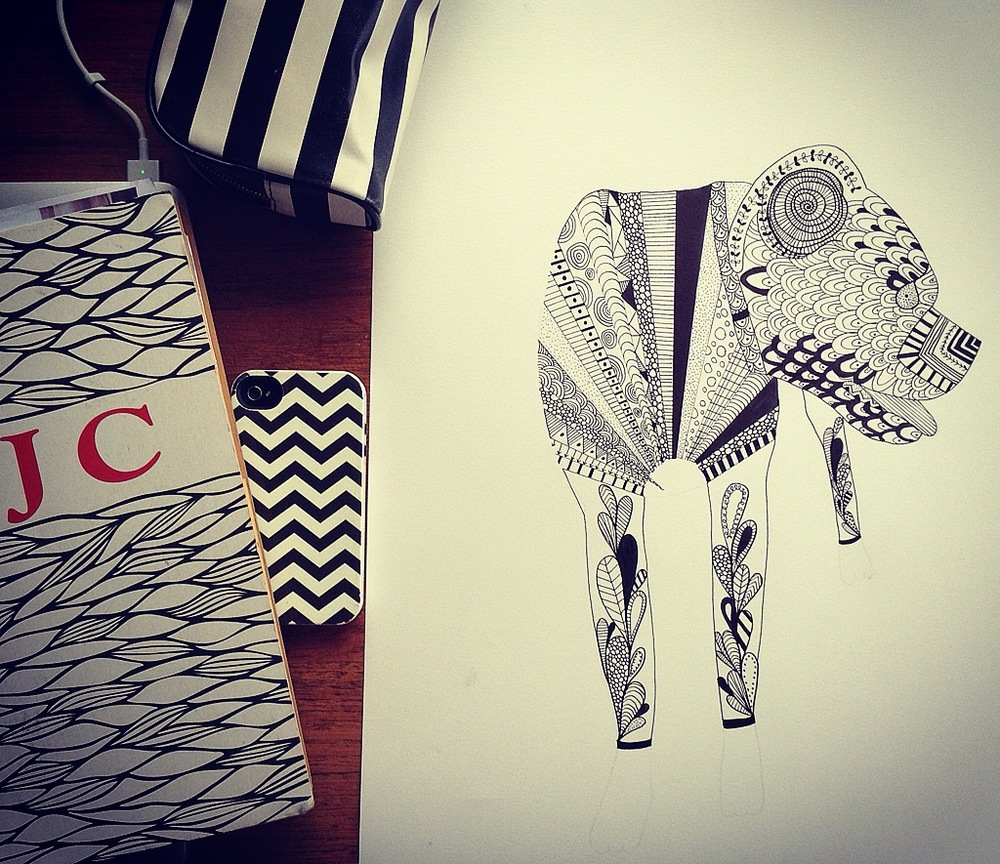 Lesson:  Cross-Contour Drawing with Pattern + My Love for Black + White shines through all of my belongings in the above photo