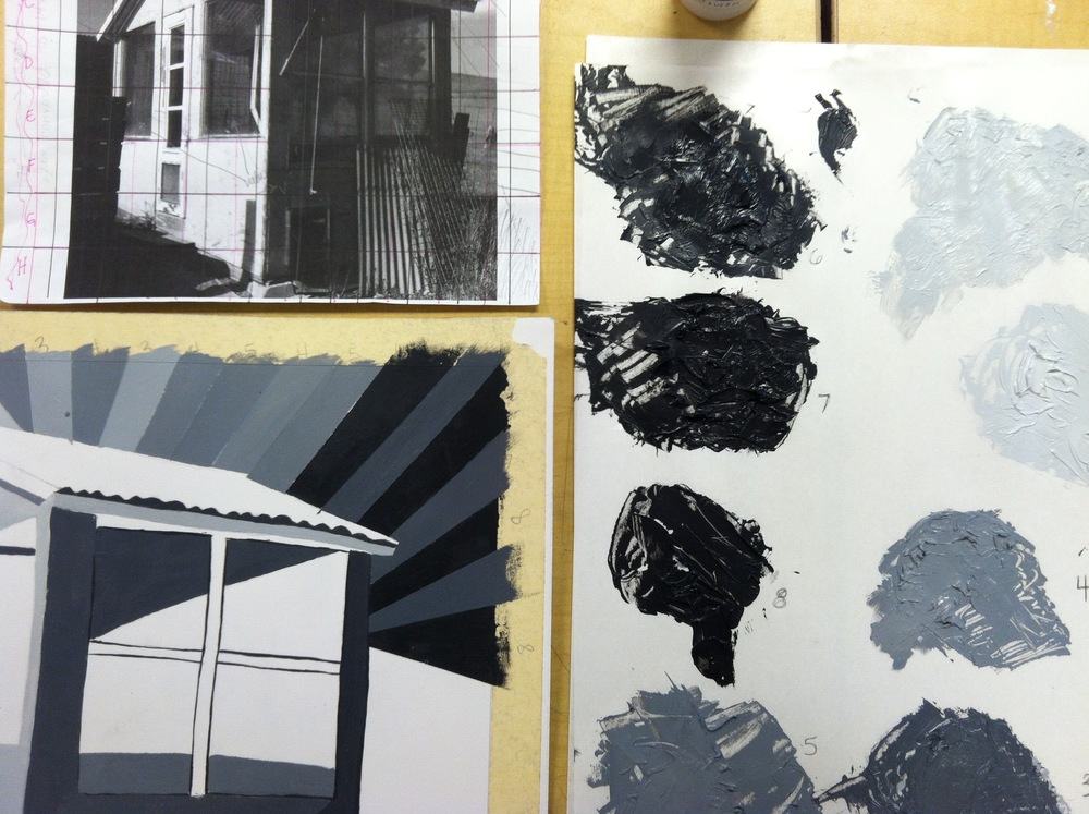 Lesson:  Two Point Perspective (drawing + then painting) in Grey Scale with Light Logic Focus