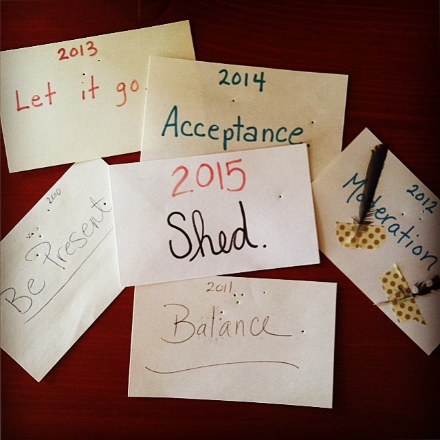My former yoga teacher had us write an intention for the year + slip it under our mat during our New Year's Day yoga practice workshop. I loved the idea + have done it every year since 2010.