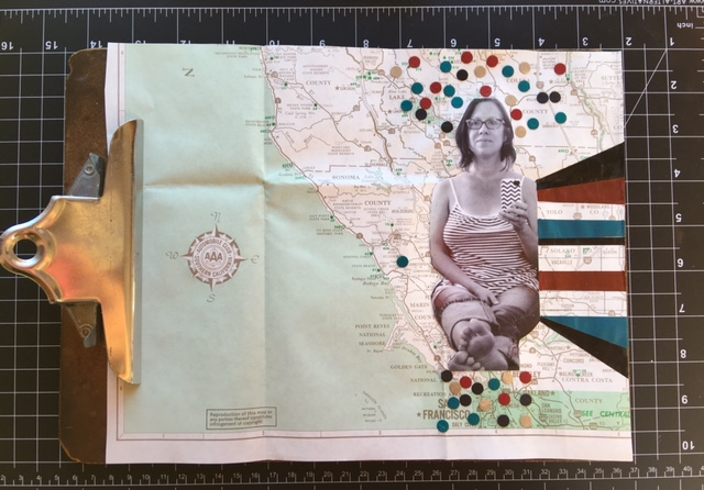 First Collage Attempt:  Vintage map, confetti, photo + acrylic paint