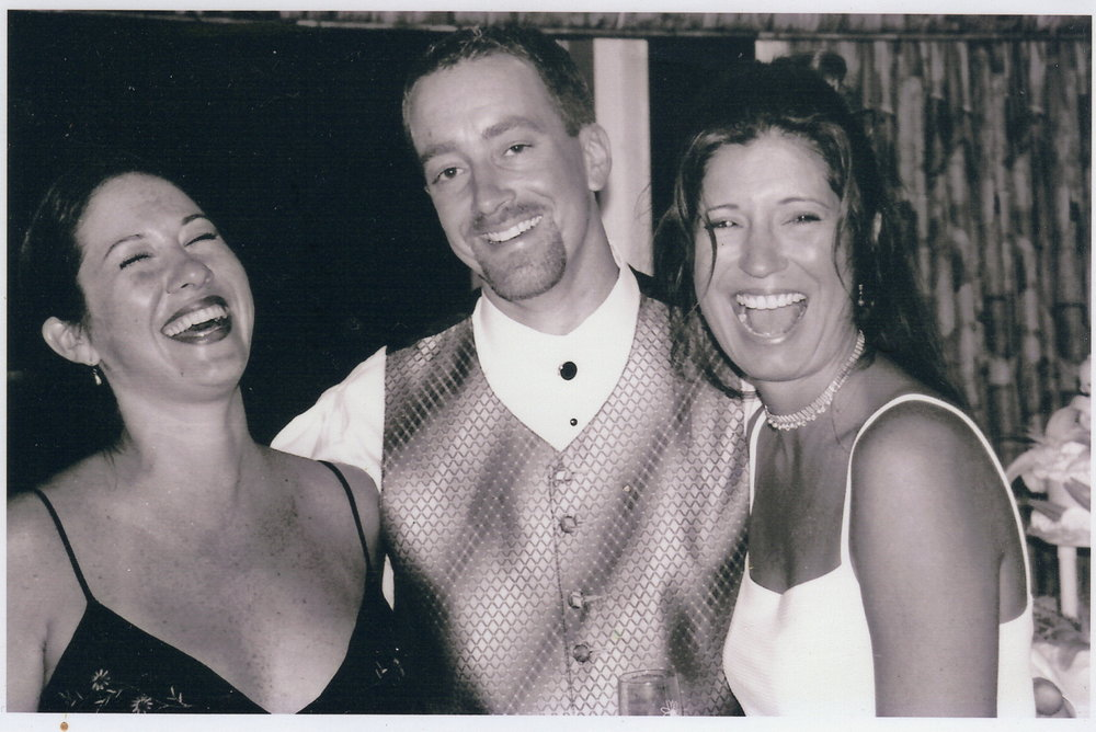 L-R: Me, Scott + Kacy on their wedding day in 2000
