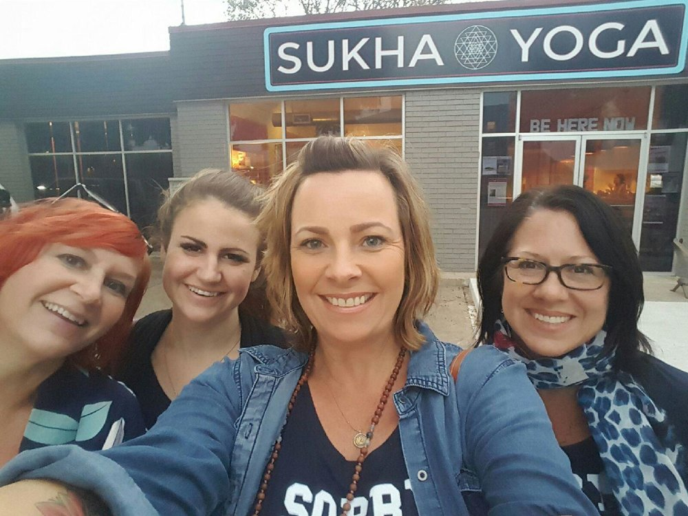 Sondra, Lara, Natalie (my newest sister-wife) + Me at Sukha Yoga in Austin on a Saturday Night!  We know how to party.