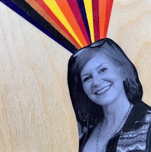 "Mixed media :: black + white photo, acrylic paints on a hard wood panel 5"" x 5"""