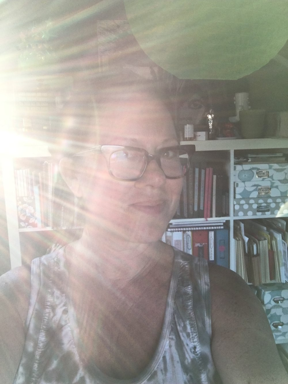 Selfie with the sun shining a light on my procrastination!