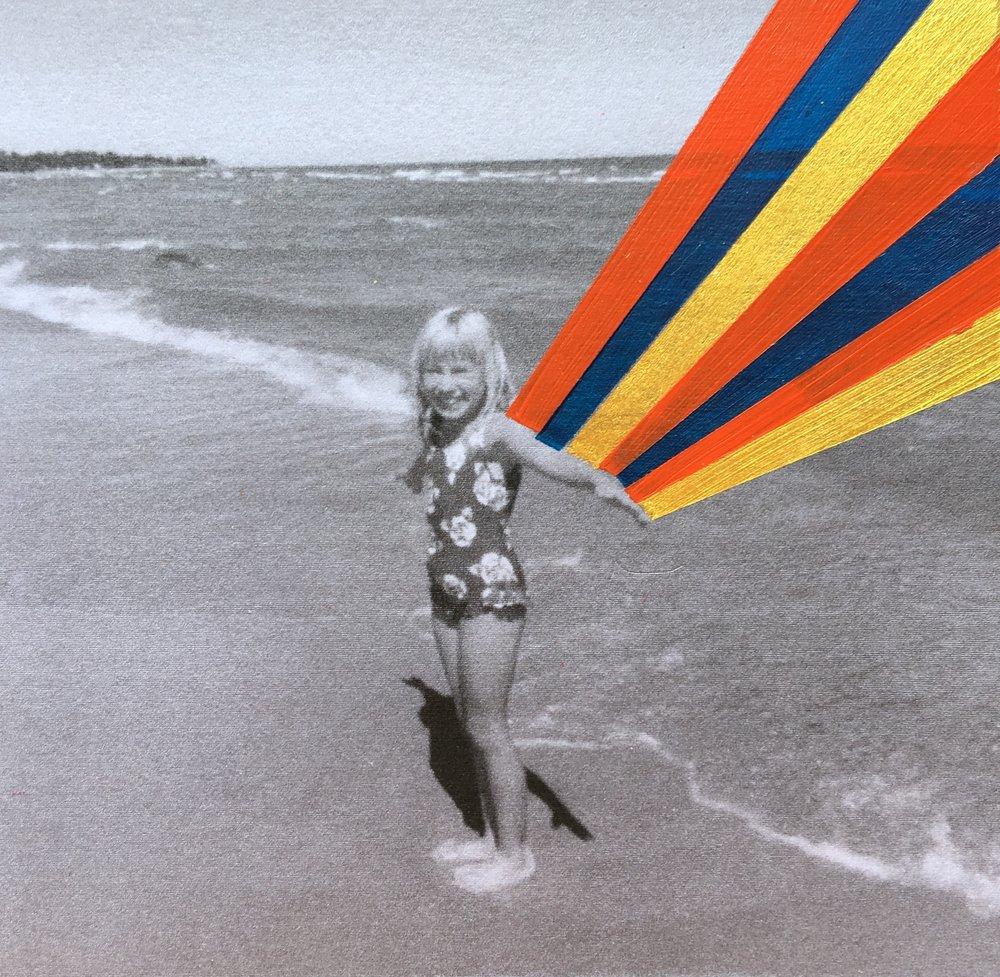 8-year old Sara on Lake Huron in Harrisville, MI circa 1990.