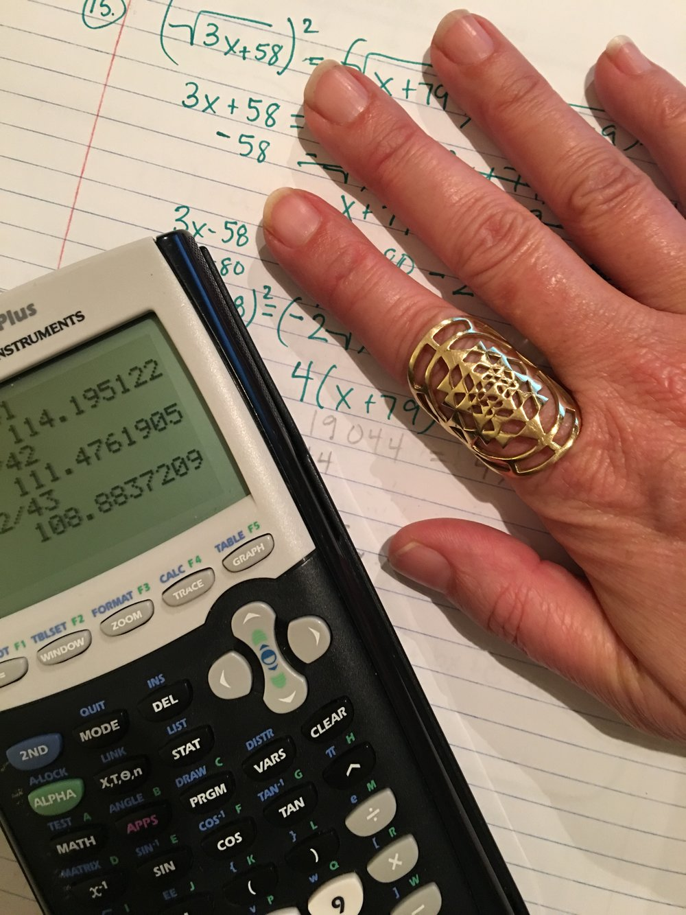 Algebra + Sacred Geometry adorning my  Jupiter Finger