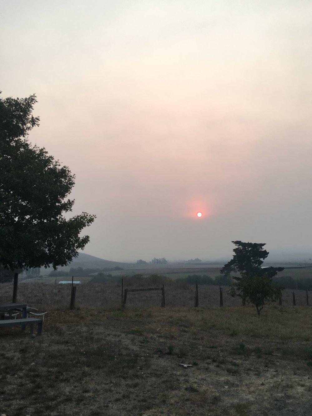 October 9, 2015 - the morning sunrise through the smoke and ash from the Santa Rosa fires