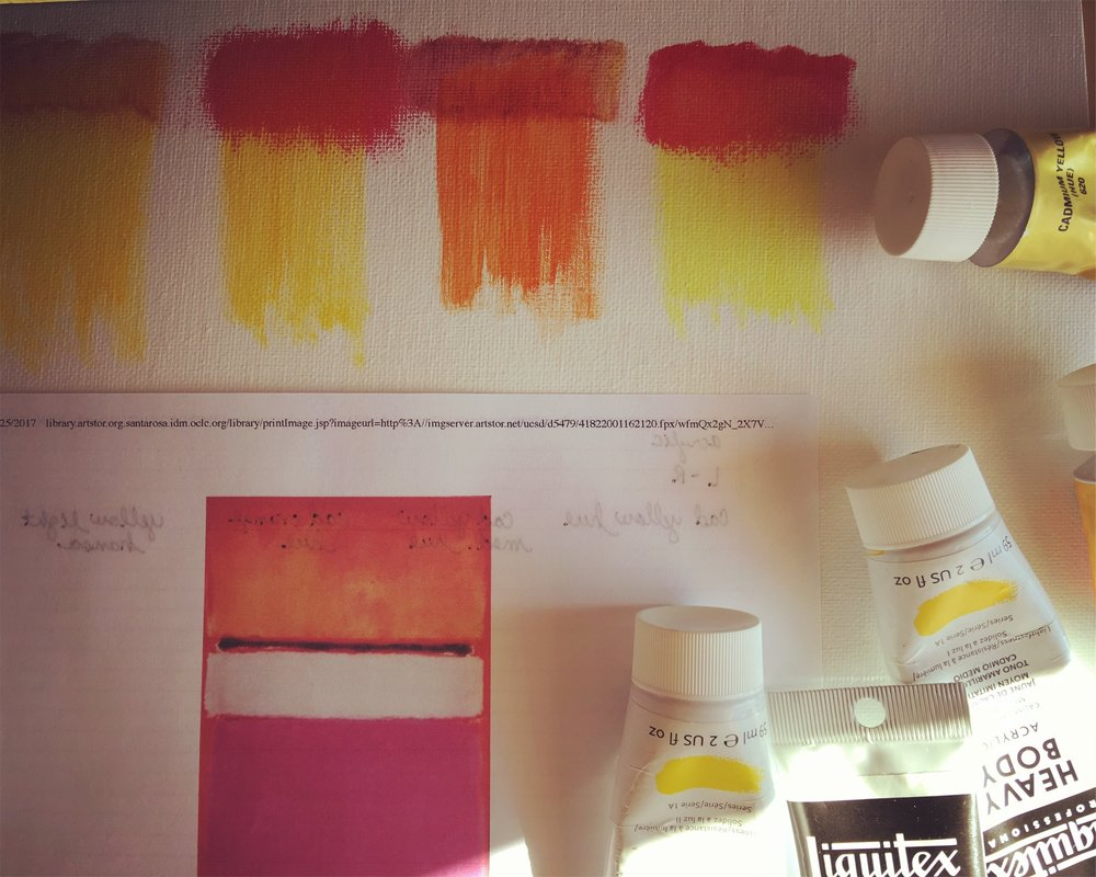 Color samples + Mark Rothko's White Center circa 1950